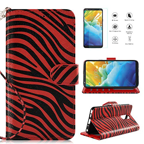 LG Stylo 4 Case 2018,LG Stylo 4 Phone Case Wallet Case with Screen Protector, Kickstand Card Slots Wrist Strap 2 in 1 Magnetic Flip PU Leather Zebra Wallet Cover Compatible LG Stylo 4 Plus,Red