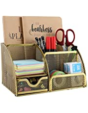 EasyPAG Mesh Desk Organizer 6 Compartments and 1 Slide Out Drawer Desktop Collection Office Supply Caddy