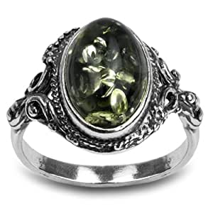 Sterling Silver Green Amber Oval Ring, Size 6