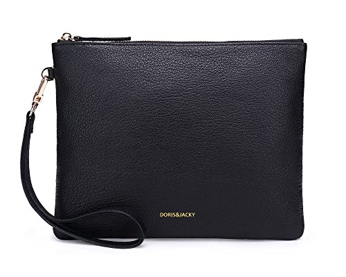 Soft Lambskin Leather Wristlet Clutch Bag For Women Designer Large Wallets With Strap (Black-Goat Leather) by Doris&Jacky