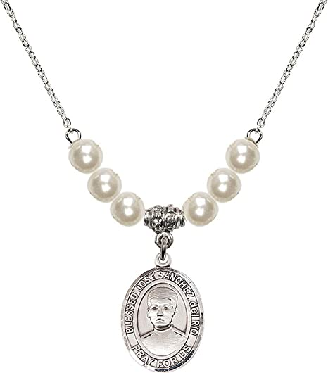 18-Inch Rhodium Plated Necklace with 6mm Jet Birthstone Beads and Star of David Charm.