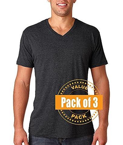 Next Level Mens Tri-Blend V-Neck 6040-Vintage Black-XX-Large (3 Pack) (Next Level Tri Blend V)