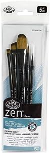 Royal & Langnickel, Zen Series 74 Set of 5 Brushes, Standard Handle, Synthetic Filament, Oval Wash 3/4, Angular 1/2, Round 4, Chisel Blender 6, Liner 20/0, RZEN-SET740