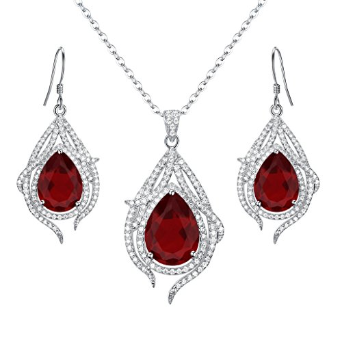 - EleQueen 925 Sterling Silver Cubic Zirconia Teardrop of Angel Bridal Pendant Necklace Hook Earrings Set Ruby Color