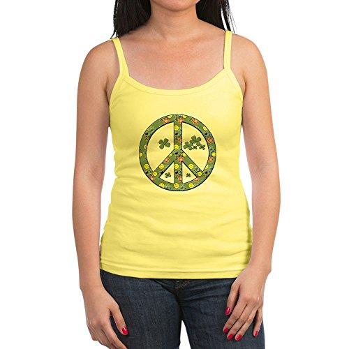 Royal Lion Jr. Spaghetti Tank Peace Symbol Sign Irish Shamrocks - Lemon, Medium