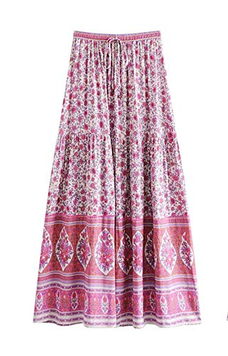 - R.Vivimos Womens Summer Cotton Vintage Floral Print Boho Casual Long Skirt (Medium, Pink-1)