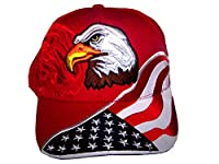 USA Flag Hat - Embroidered American Flag & Eagle Baseball Cap with 100,000 Embroidery Stitches