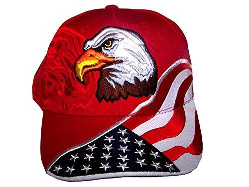 American Flag Hat - USA Eagle Baseball Cap with 100,000 Embroidery Stitches, Great Gift for Dad (Embroidery Eagle Flag)