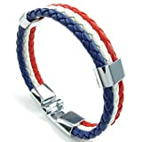 KONOV Mens Womens Feather Bracelet, French France Flag Cuff Bangle, Blue White Red, 8.5 inch