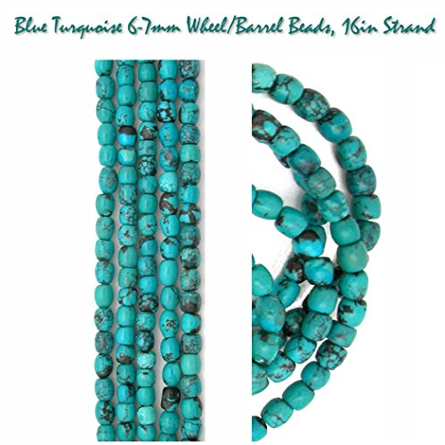 Genuine Blue Turquoise Irregular 6-7mm Wheel Barrel Beads, 16in Strand, 16in Strands for Jewelry Making