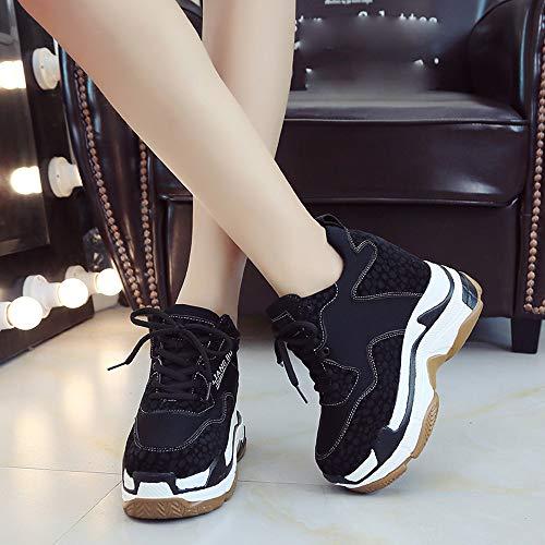 Aire Transpirable Con Mujer Plataforma Zapatillas Deporte Zapato De Leopardo Cordones Negro Estampado Libre Cuña Suela Interior Gruesa Calzados Sneaker wgHZBqC