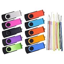 1GB Flash Drive 10 Pack USB 2.0 Thumb Drives Bulk Multipack Pen Drives Kepmem Multicolor Memory Stick 1 GB Metal Swivel…