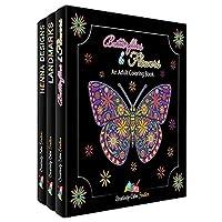 Set de libros para colorear para adultos - Paquete de 3 - Lleno de libros para colorear para adultos Flores, mariposas, mandalas. Libros para colorear para la relajación de los adultos.