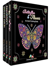 Adult Coloring Books Set 3 Pack – Landmarks, Henna, Butterflies and Flowers