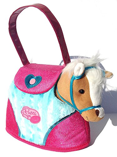 Pucci Pups Hearts and Stripes Pony Bag, 6 Piece Pack, Tan Horse with Carrying Bag and Accessories      ()