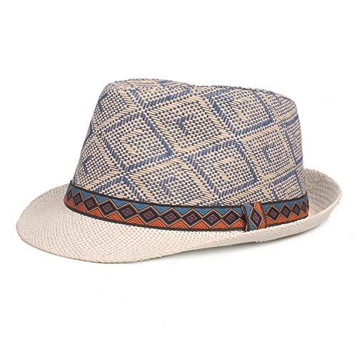 (New Summer Plaid Men's Straw Hat Fedora Fashion British Style Muts Jazz Men Women Hats Blue)