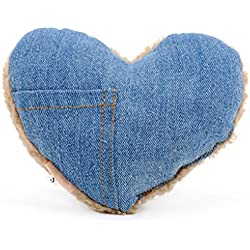Shepher Jean Cloth Wool Plush Chew Toys for Small/Medium Puppies Dogs Full Stuffed Pet Squeaky Pillow, Heart