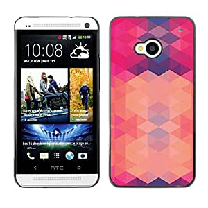 Planetar® ( Polygon Pink Purple Pattern Abstract ) HTC One M7 Fundas Cover Cubre Hard Case Cover