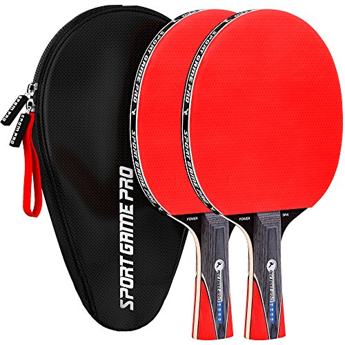 Sport Game Pro Ping Pong Paddles Set Includes Killer Spin, Bag for 2 Table Tennis Rackets with Comfort Grip 2.0 mm Sponge and ()