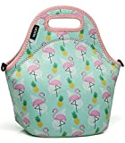 VASCHY Lunch Box Bag for Girls, Neoprene Insulated Lunch Tote with Detachable Adjustable Shoulder Strap in Cute Flamingos