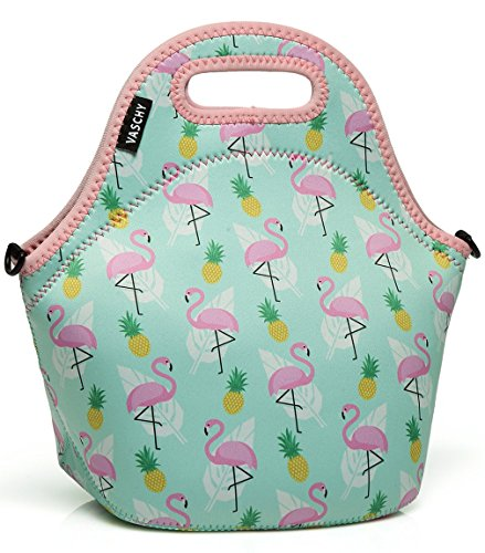 Lunch Box Bag for Girls,Vaschy Neoprene Insulated Lunch Tote with Detachable Adjustable Shoulder Strap in Cute Flamingos