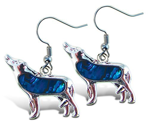 (Puzzled Blue & Silver Wolf Dangle Post Fish Hook Drop Earrings, 1.35 Inch Fashionable Sparkling Elegant Jewelry with Genuine New Zealand Paua Shell Wild Animals Themed Fashion Ear Accessory (2 Pcs))