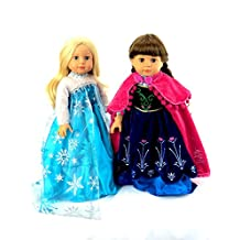 Princess Anna and Queen Elsa Frozen Inspired Outfits | Fits 18 American Girl Dolls, Madame Alexander, Our Generation, etc. | 18 Inch Doll Clothes