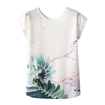 a2a25e76aab3aa Jiayit Women's Tops Women's Fashion Cute Lotus Leaf Giant Panda Print O-Neck  Short Sleeve
