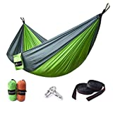 """Image of HUKOER Double Nest Parachute Camping Hammock Ultra-light Portable 2 Persons 550lbs Nylon Hammock with Free Tree Straps 118"""" x 78.7"""" Perfect for Indoor Sleeping, Outdoor, Backyard, Hiking and Travel"""