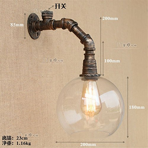 (JJZHG Wall Light Indoor Wall Lamp Retro Wall lamp Aisle Staircase Balcony Restaurant Cafe bar Glass Water Pipe Wall lamp Includes: Wall Lights, Wall lamp with Reading Light, Wall lamp with Plug)