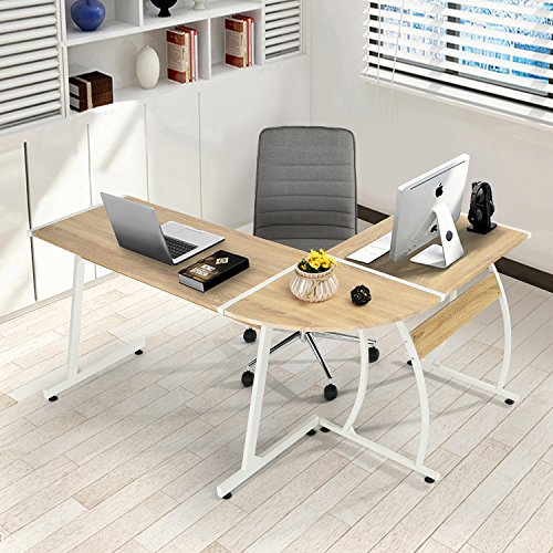 3 Piece Oak Side Table (GreenForest Office Desk L-Shape Corner Computer PC Table Workstation 3-Piece for Home,Switch 2 Sides,Oak)