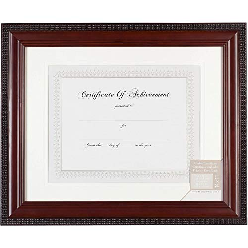 Pinnacle Mahogany Beaded Edge Document Frame with Usable Certificate, 11-Inch by 14-Inch Matted to 8-1/2-Inch by 11-Inch