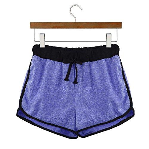 Hot sciolto vita Pants Donne sports vita Mid corti Blu pantaloncini Amlaiworld coulisse pantaloni dB1XwxX