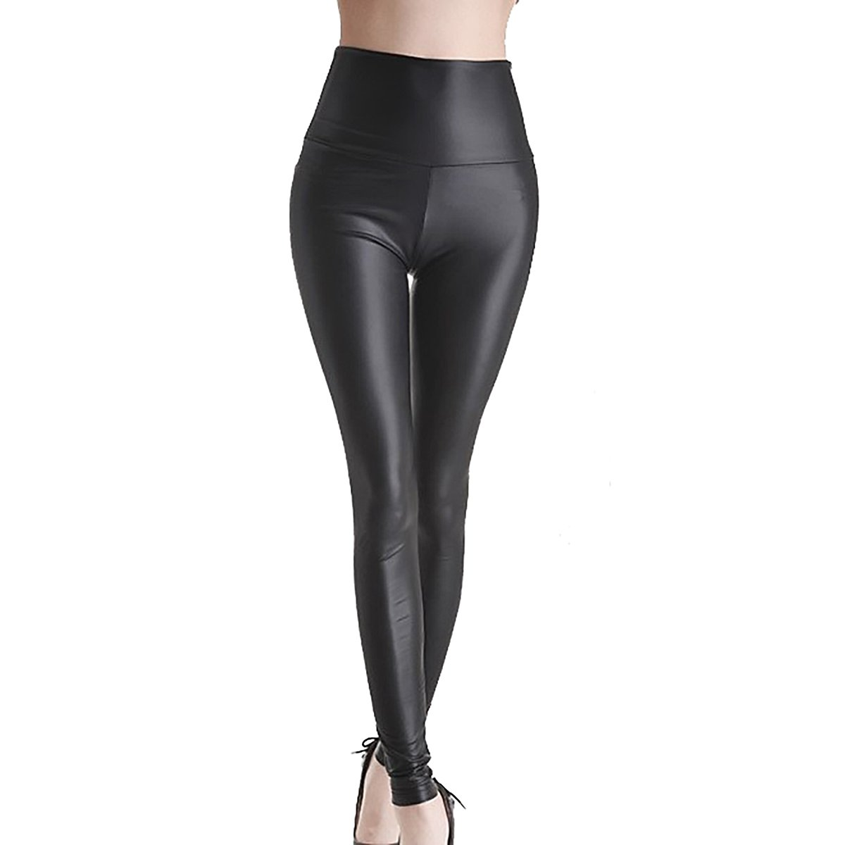 Women's Black Stretchy Leggings Faux Leather High Waist Leggings QiuLan