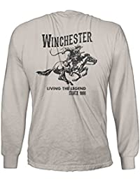 Official Winchester Mens Cotton Vintage Rider Graphic Printed Long Sleeve T-Shirt