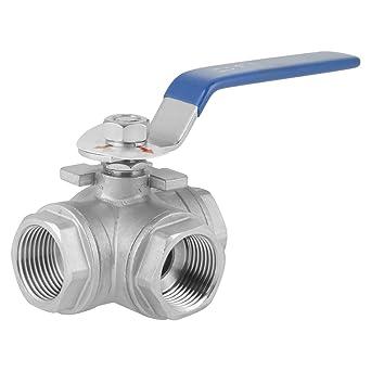Válvula de bola DN25 Rosca de 1 pulgada Válvula de agua de acero inoxidable 304 de tipo L de tres vías para agua, aceite y vapor con manijas azules de ...