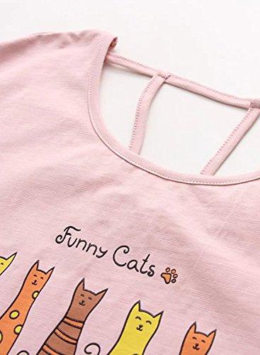 Azbro Mujer Camiseta sin Respaldo Estampado Gato Dibujo Mangas Cortas Rosa