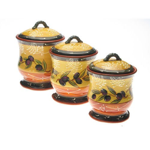 3 Piece Ceramic Canister Set French Olives Kitchen Storage NEW by rung shop