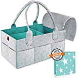Baby Diaper Caddy Organizer - Baby Registry Must Have, Baby Shower Gift, Large Nursery Storage Bin Caddy, Baby Car Travel Caddy Organizer, Include Removable Cover & Waterproof Changing Pad Portable