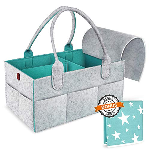 Baby Diaper Caddy Organizer – Portable Large Nursery Storage Bin, Newborn Registry Must Have, Best Baby Shower Gift Basket, Infant Diaper Caddy Tote Bag Organizer with Removable Cover & Changing Pad