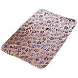 Cute Pet Dog Blanket Warm Paw Print Dog Puppy Fleece Soft Bed Mat Cover Throws Cushion Mat Sleep Pad size M (Brown)