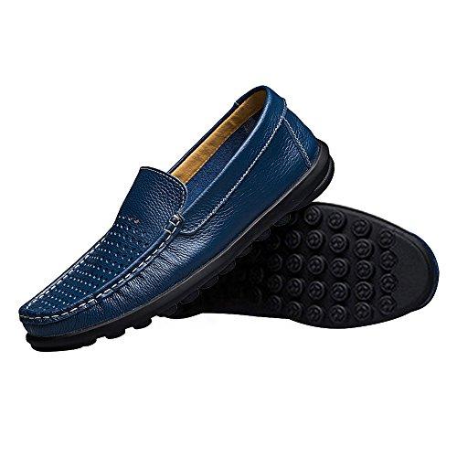Rismart Homme Respirant Creux Glisser sur Qualité supérieure Cuir Mocassins Loafer Flats 8377-2(bleu,EU42)