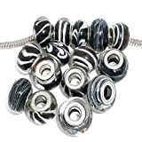 Ten (10) Assorted Black and White Glass Lampwork, Murano Glass Beads for European Style Bracelets