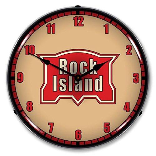 - Rock Island Railroad Logo Lighted Wall Clock