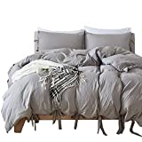 PromQueen Grey Duvet Cover Set, 100% Brushed Fabric, Solid Color Pattern with Frenulem Style (3pcs, King Size)