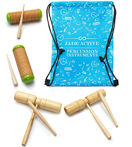Wood Guiro Percussion Set – Unique Wood Guiro Shakers and Tone Blocks for Kids to Play With – Great Musical Toys for Kids that Help Children Learn and Develop!