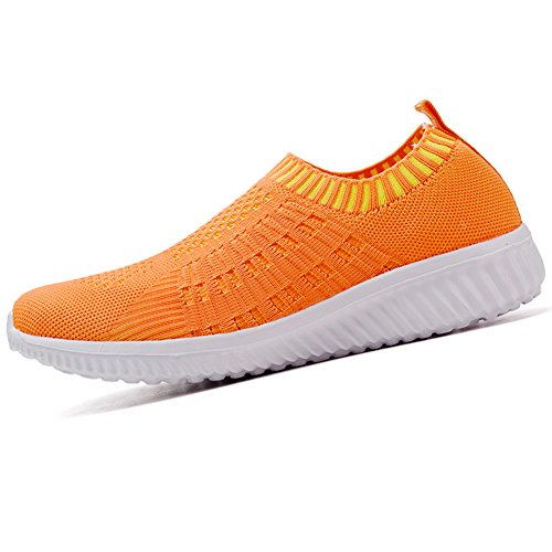 Orange Walking Shoes Breathable Mesh LANCROP Sneakers Slip On Athletic 02 Lightweight Women's 08qnzv