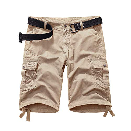(AKARMY Men's Loose Fit Twill Cotton Outdoor Cargo Shorts with Multi Pocket 1206 Khaki)