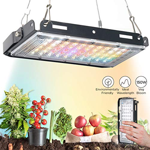 ECRU LED Grow Light Panel - 150W Grow Light with 120° of Full Spectrum LED Light Bulbs for Indoor Plant Vegetation and Flowering - LED Indoor Grow Light