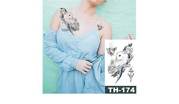Modeganqing 5 Piezas Tatuaje Impermeable Pegatina Rosa Loto pájaro ...